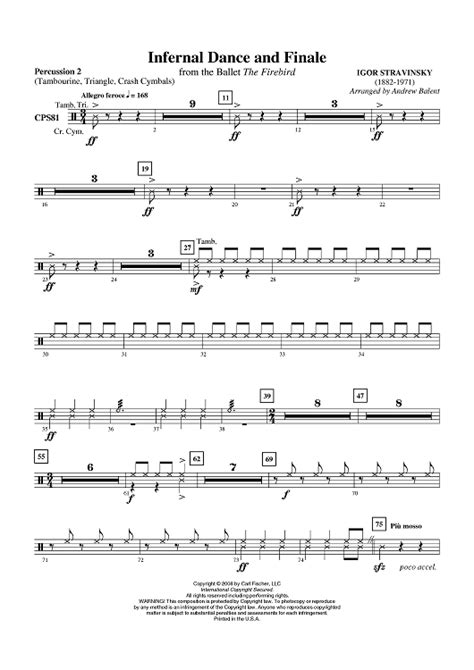 dance music xylophone infernal dance and finale percussion 2 sheet music for