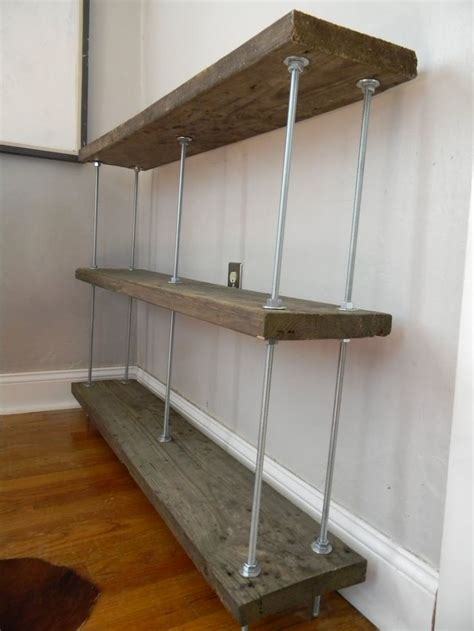bookshelf with reclaimed wood and threaded rods