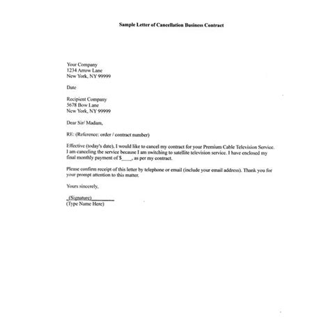Cancellation Letter Format For Broadband How To Write A Sle Letter Of Cancellation Business Contract