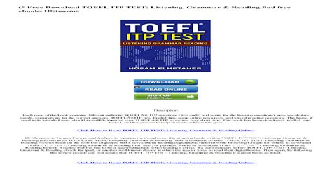 toefl itp test listening grammar