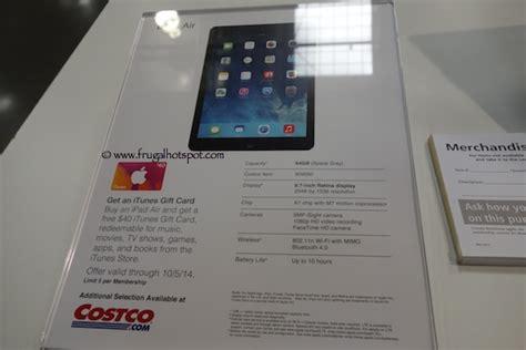 Costco Apple Gift Card - costco sale apple ipad air free 40 itunes card frugal hotspot