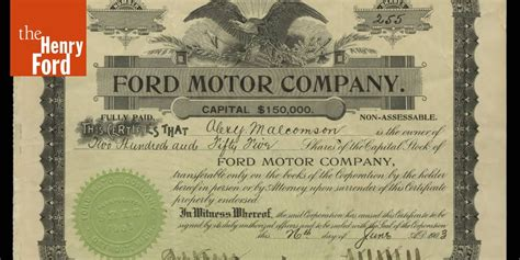 Henry Ford Plymouth by Ford Motor Company Original Stock Certificate June 26