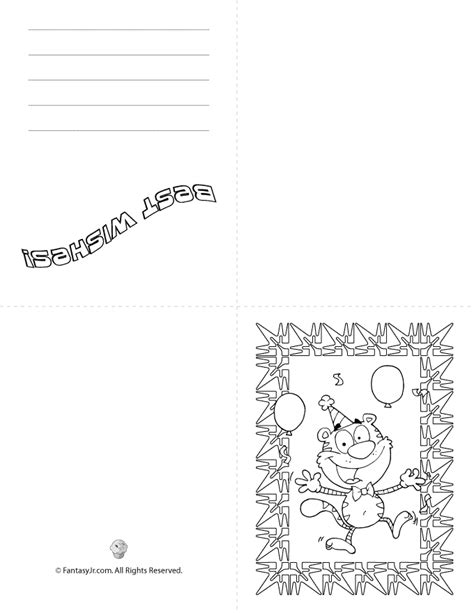 printable foldable cards coloring book templates printable birthday cards fold tiger woo