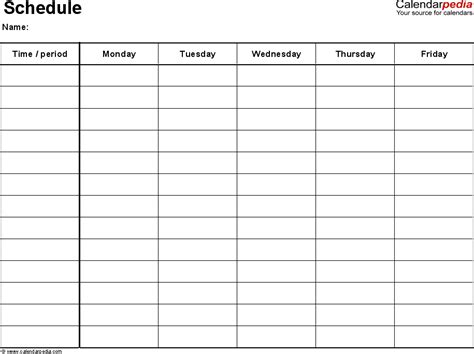 printable charts monday thru friday calendar template 2016
