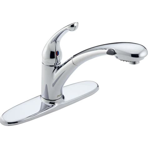 delta signature single handle pull out sprayer kitchen faucet with water efficient in chrome 470
