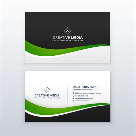 Green Business Card Template by Green Business Card Professional Design Template
