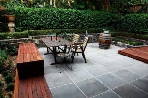 Patio Designs Melbourne Courtyard In Sawn And Hewn Bluestone With Yellow Box Decking Modern Patio Melbourne By
