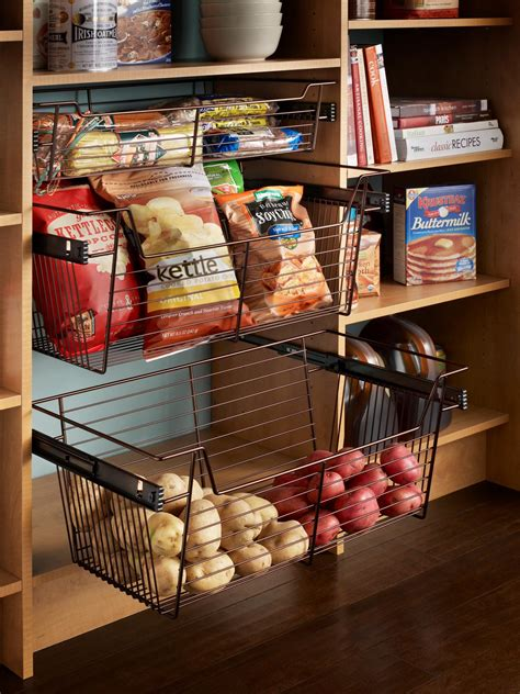 sliding pantry storage baskets hgtv