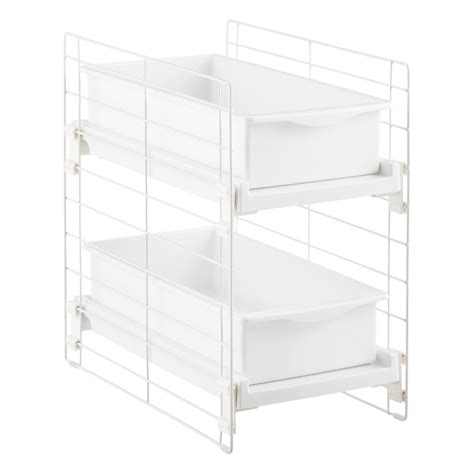 sliding cabinet organizers kitchen sliding 2 drawer organizer the container store