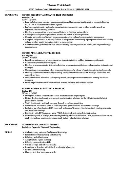 test engineer resume template test engineer senior test engineer resume sles
