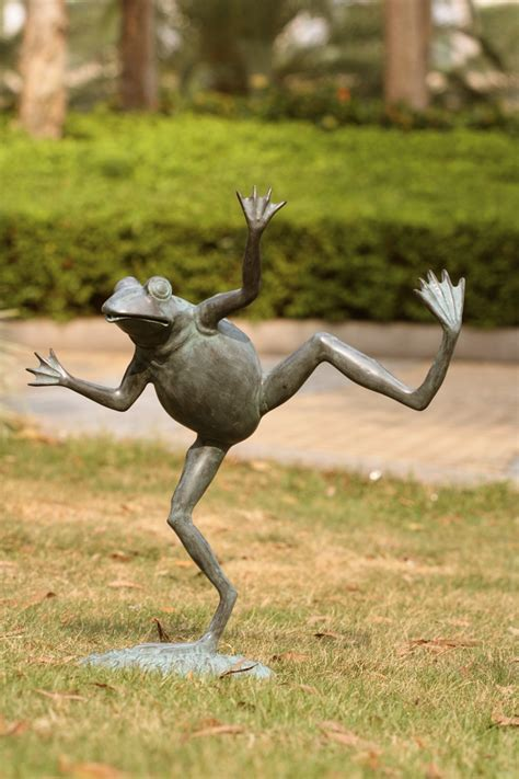 statues and sculptures home decorating dancing frog spitter garden dcor by spi home 392 you