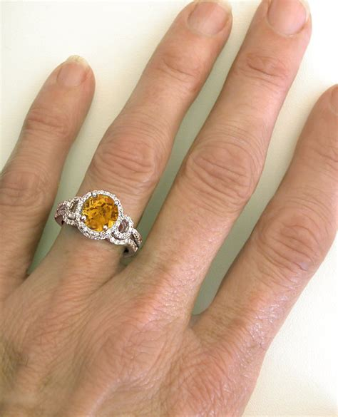 Checkerboard Citrine Engagement Ring In 14k White Gold Gr