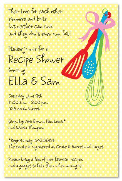recipe bridal shower invitations wording cooking tools bridal shower invitations recipe shower shower invitations bridal