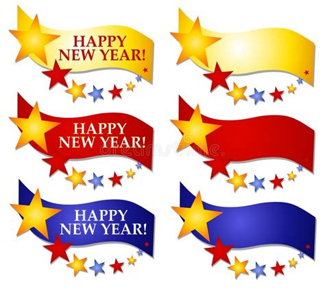 happy new year banners or logos 2 stock illustration