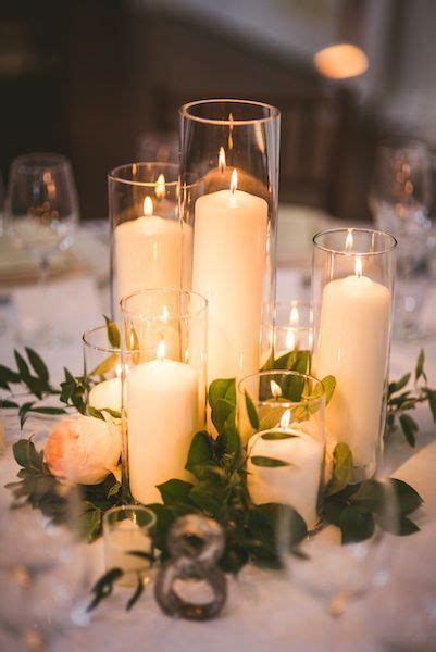 tall candlesglass vase greenery wedding decor ideas