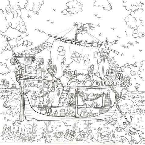 pirate ship colouring poster giant posters notonthehighstreet