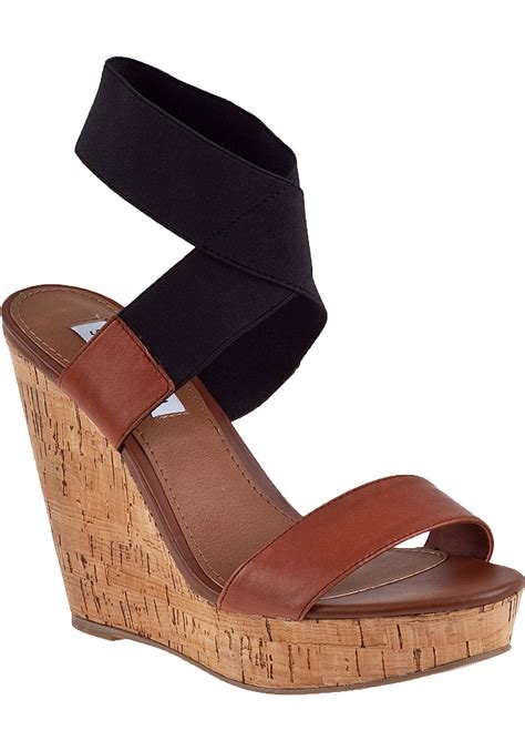 Wedges Cassico Ca 58 steve madden roperr wedge sandal black fabric in brown lyst