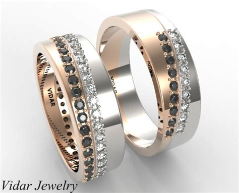 Wedding Bands Unique Matching by His And Hers Unique Matching Black And White Diamonds