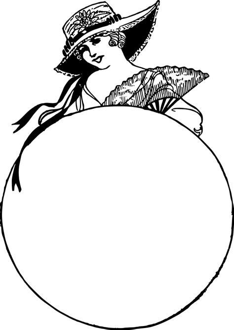 OnlineLabels Clip Art - Cute Lady Circle Frame