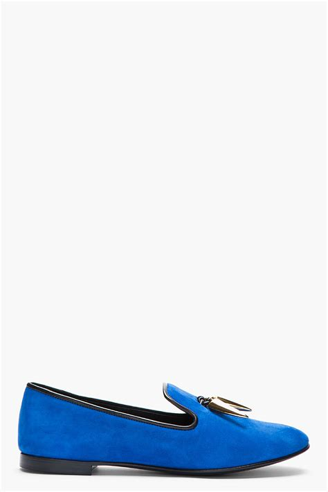 royal blue loafers for giuseppe zanotti royal blue and gold horn dalila suede