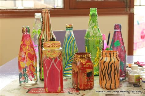 hand painted glass bottles and jars different ways paint