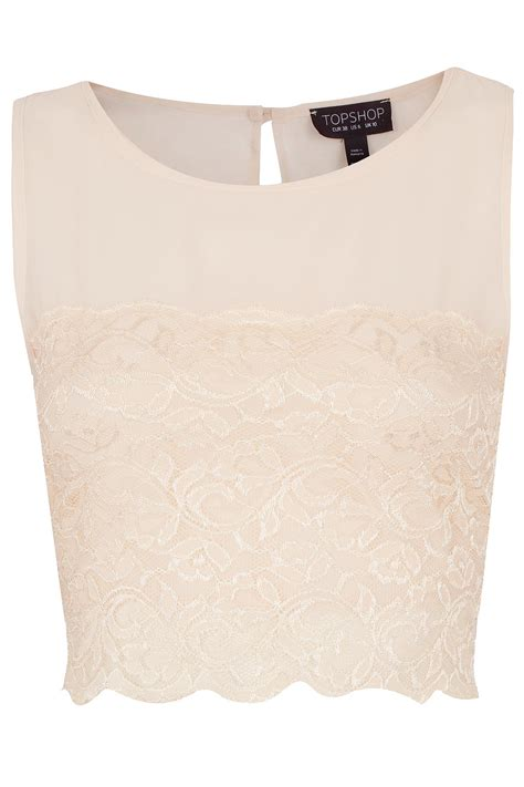 Lace Panel Chiffon Top lyst topshop lace panel chiffon crop top in