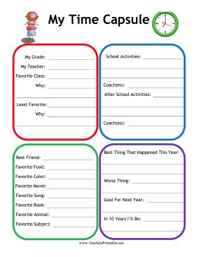 printable time capsule sheets time capsule