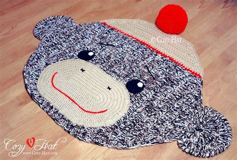 sock monkey rug sock monkey rug crocheted