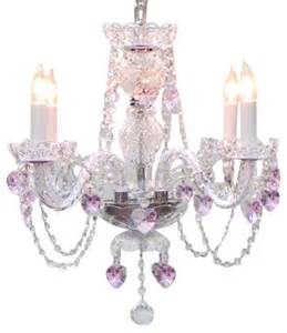 Pink Chandelier Crystals Chandelier With Pink Hearts Traditional