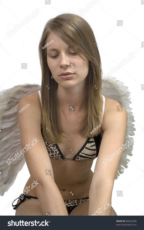 young girl with bathing suit stock photo young girl bathing suit angel wings stock photo 80202268