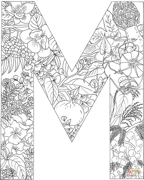 letter m with plants coloring page free printable