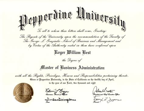 Pepperdine Mba by Degrees Roger William Best