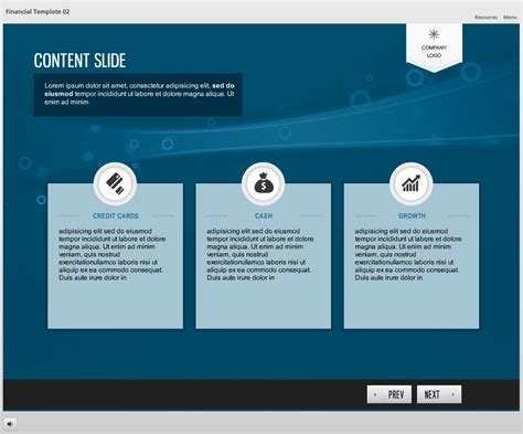 Storyline Template Financial Theme 02 The Elearning Network Elearning Templates Storyline