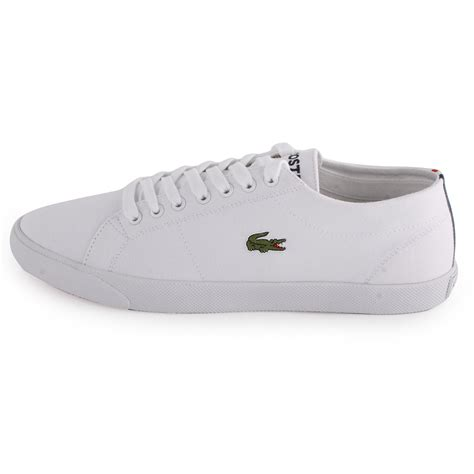 lacoste marcel frs mens canvas trainers white white new