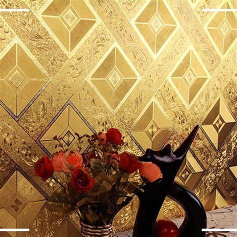 Wallpaper Dinding Luxury Classic Coklat Gold luxury 3d geometry pattern wallpaper roll size pvc ceiling ktv living room background gold foil