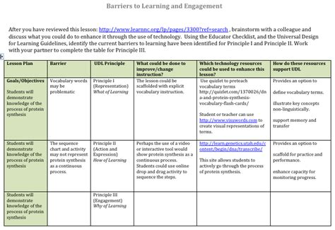 direct interactive lesson plan template barriers in lesson planning universal design for