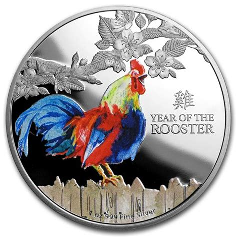 new year 2015 year of the rooster 2017 new zealand 1 oz proof silver 2 lunar year of the