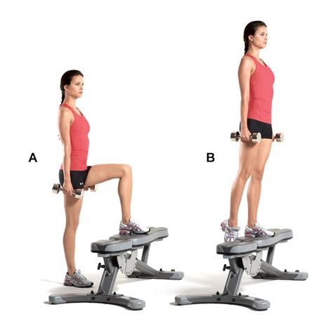exercises using a step bench superset 1a dumbbell step up women s health