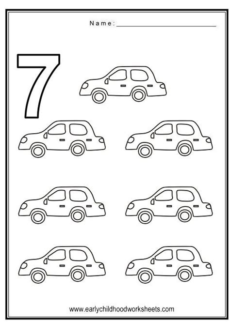 Number 7 Coloring Pages For Preschoolers by Number 7 Worksheets Coloring Number 7 Vehicles Theme
