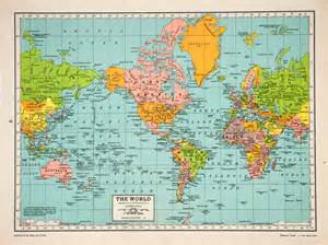 North America And Europe Map by 1947 Lithograph Mercator Projection World Map Hammond