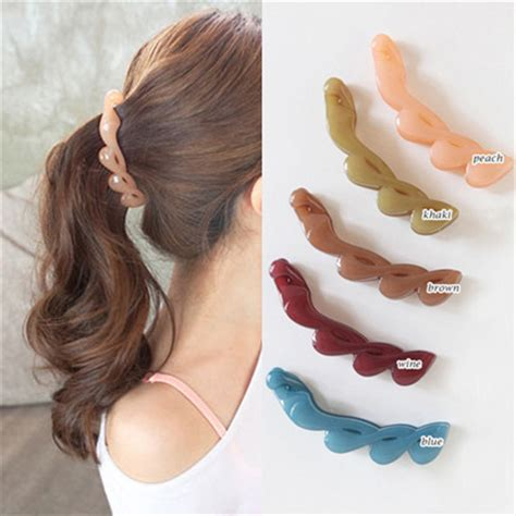 short banana hair clips 2017 new korean hair banana clip horsetail hair grip cute