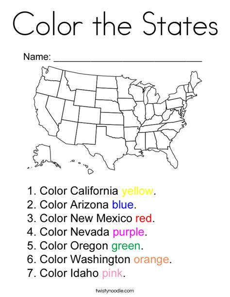 coloring book pages of the united states color the states coloring page twisty noodle