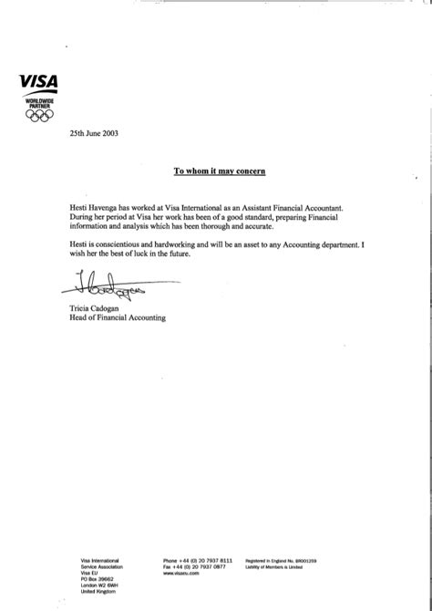 Recommendation Letter For Work Visa Visa International Reference Letter Tricia Cadogan