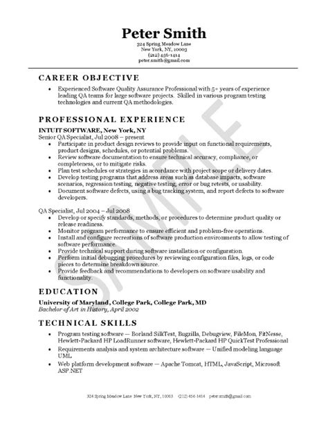 quality assurance objective statement quality assurance resume exle