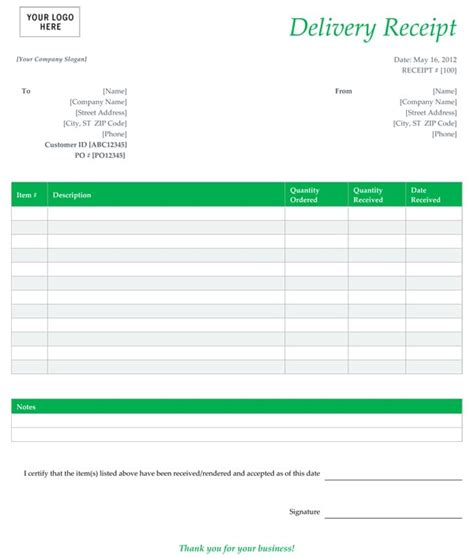 free delivery receipt template excel 6 best images of free printable delivery receipt