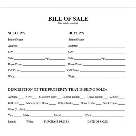 printable car bill of sale pdf bill of sale west texas
