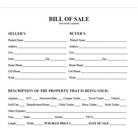 Printable Sample Bill Of Sale Form   Real Estate Forms   Pinterest   Real estate forms