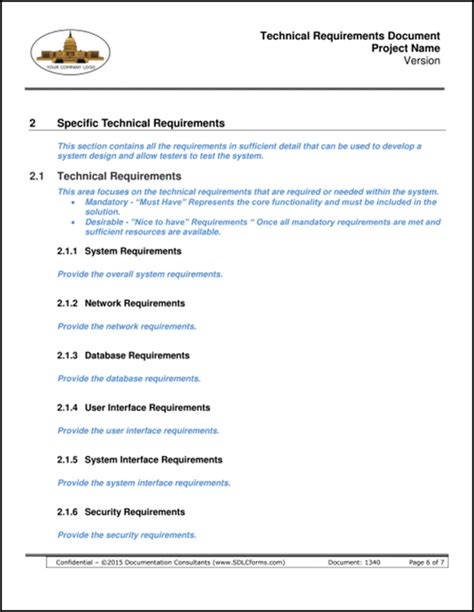 Technical Requirements Document sdlcforms technical requirements document