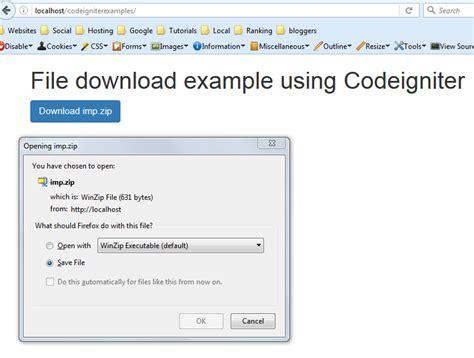 codeigniter tutorial exles codeigniter file download exle