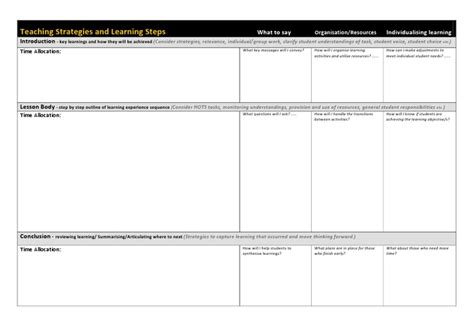 generic lesson plan template generic lesson plan template templates collections